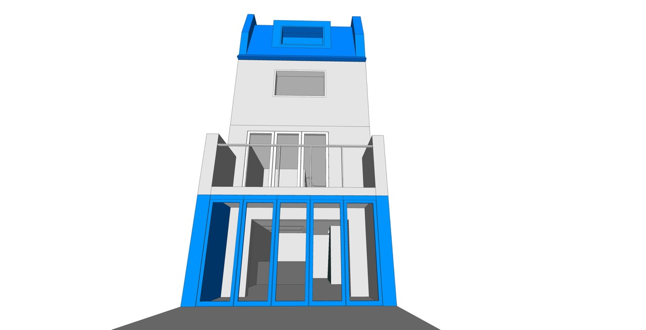 1. house B - Proposed 3D rear elevation